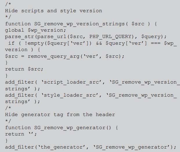 Hide WordPress Version Information
